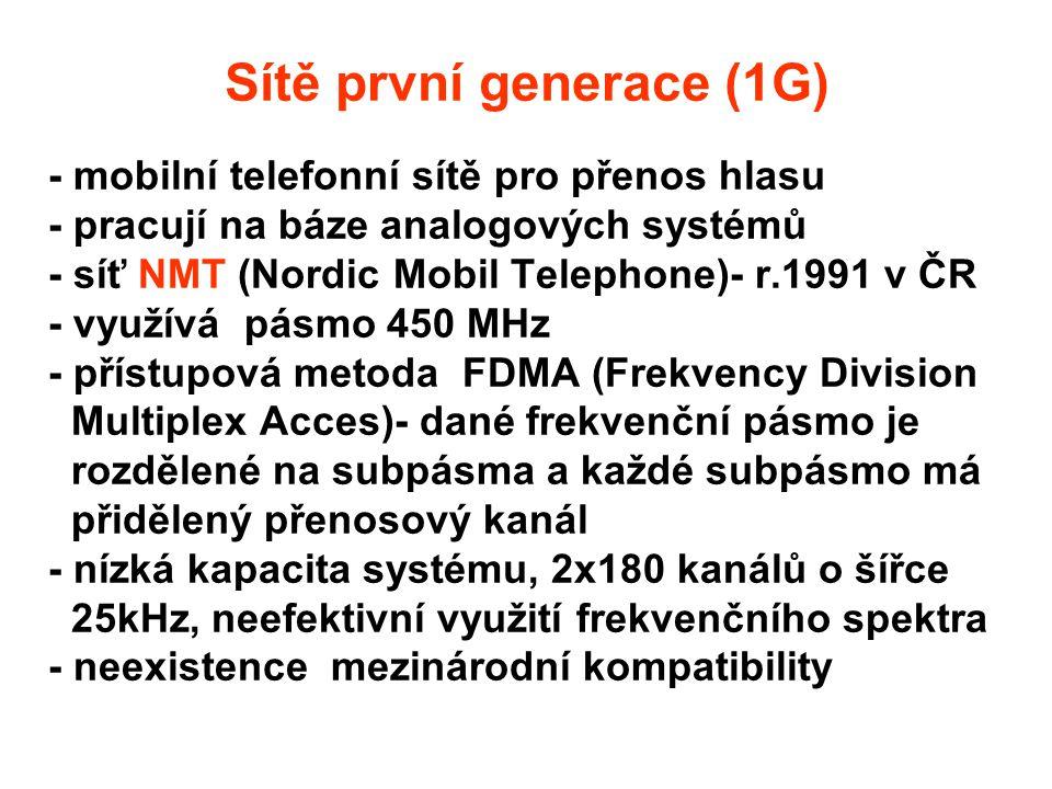 - mobilní telefonní sítě pro přenos hlasu - pracují na báze analogových systémů - síť NMT (Nordic Mobil Telephone)- r.1991 v ČR - využívá pásmo 450 MHz - přístupová metoda FDMA (Frekvency Division Multiplex Acces)- dané frekvenční pásmo je rozdělené na subpásma a každé subpásmo má přidělený přenosový kanál - nízká kapacita systému, 2x180 kanálů o šířce 25kHz, neefektivní využití frekvenčního spektra - neexistence mezinárodní kompatibility Sítě první generace (1G)