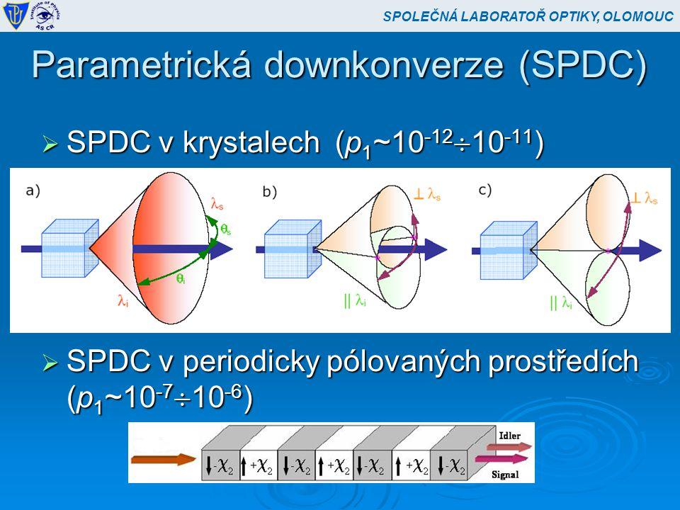 Parametrická downkonverze (SPDC)  SPDC v krystalech (p 1 ~10 -12  10 -11 )  SPDC v periodicky pólovaných prostředích (p 1 ~10 -7  10 -6 ) SPOLEČNÁ LABORATOŘ OPTIKY, OLOMOUC
