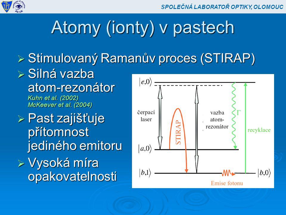 Atomy (ionty) v pastech  Stimulovaný Ramanův proces (STIRAP)  Silná vazba atom-rezonátor Kuhn et al.