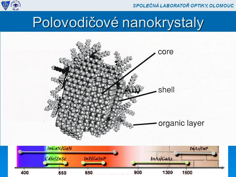 """Polovodičové nanokrystaly  II-VI polovodiče (CdSe-ZnS – core-shell)  Slupka chrání před povrchovými defekty  Vlnová délka závisí na velikosti  Lokalizované excitony  Vysoká optoelektronická účinnost, ale """"blikání  SIL nebo mikrorezonátory (Purcellův efekt)  I při pokojové teplotě SPOLEČNÁ LABORATOŘ OPTIKY, OLOMOUC"""