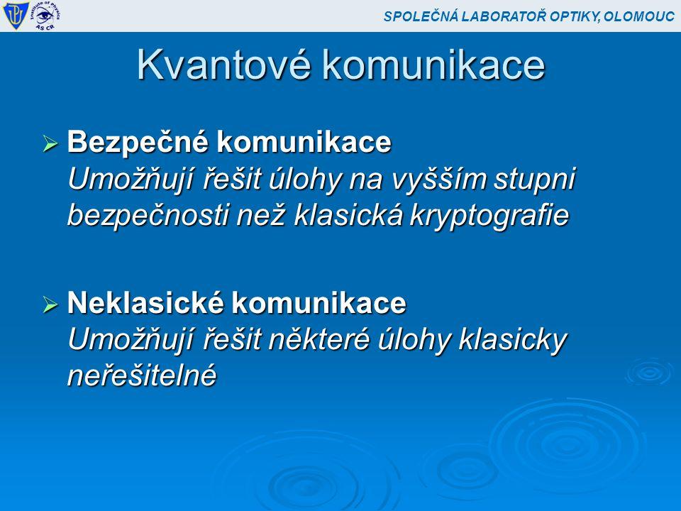 Bezpečné komunikace  Kvantová distribuce kryptografického klíče  Kvantová distribuce kryptografického klíče BB84, BBBSS – 1989, Olomouc – 1997-98  Kvantové posílání zpráv  Kvantová vzájemná identifikace  Kvantová vzájemná identifikace Olomouc – 1998-99  Kvantové sdílení tajemství Ženeva 2001, Boston (Hendrych) 2002  Kvantový generátor náhodných čísel Olomouc (1999-2002), Vídeň (2000), Ženeva 2000 SPOLEČNÁ LABORATOŘ OPTIKY, OLOMOUC