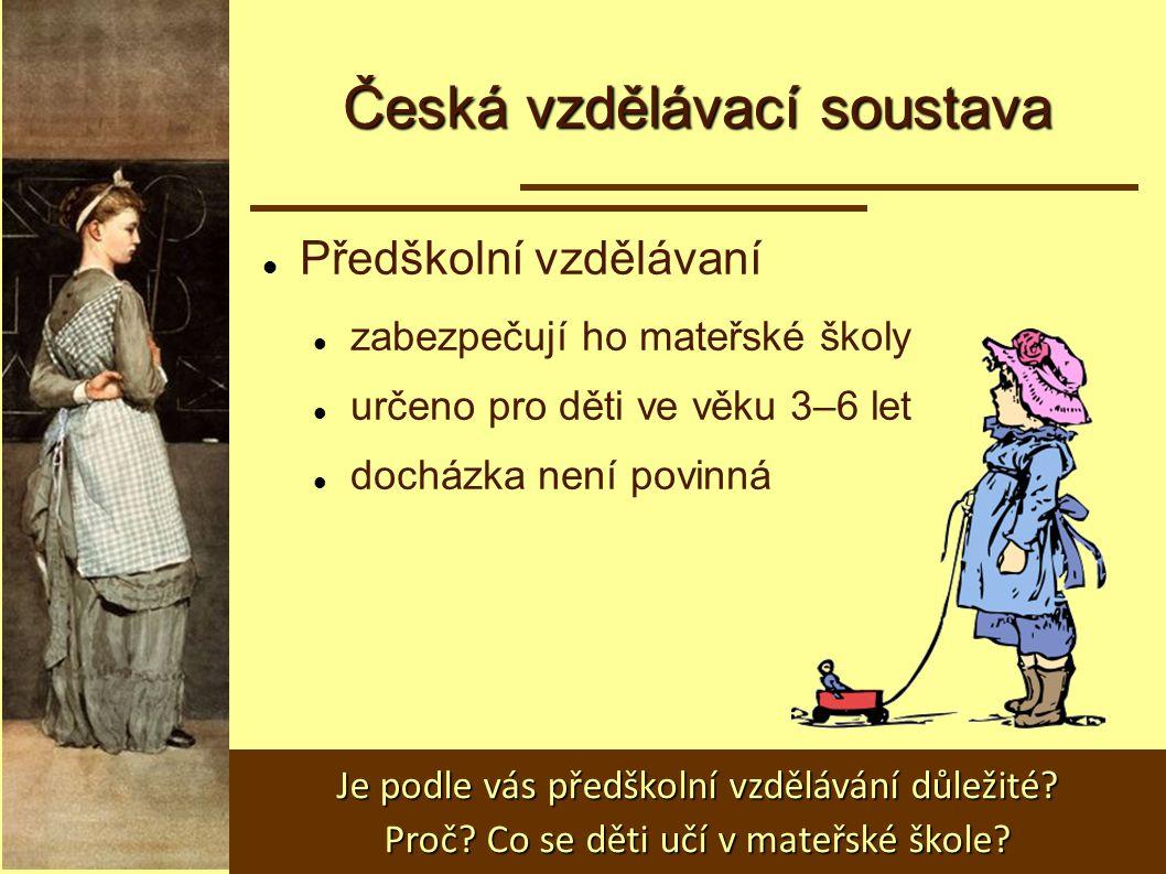 Česká vzdělávací soustava Předškolní vzdělávaní zabezpečují ho mateřské školy určeno pro děti ve věku 3–6 let docházka není povinná Je podle vás předš