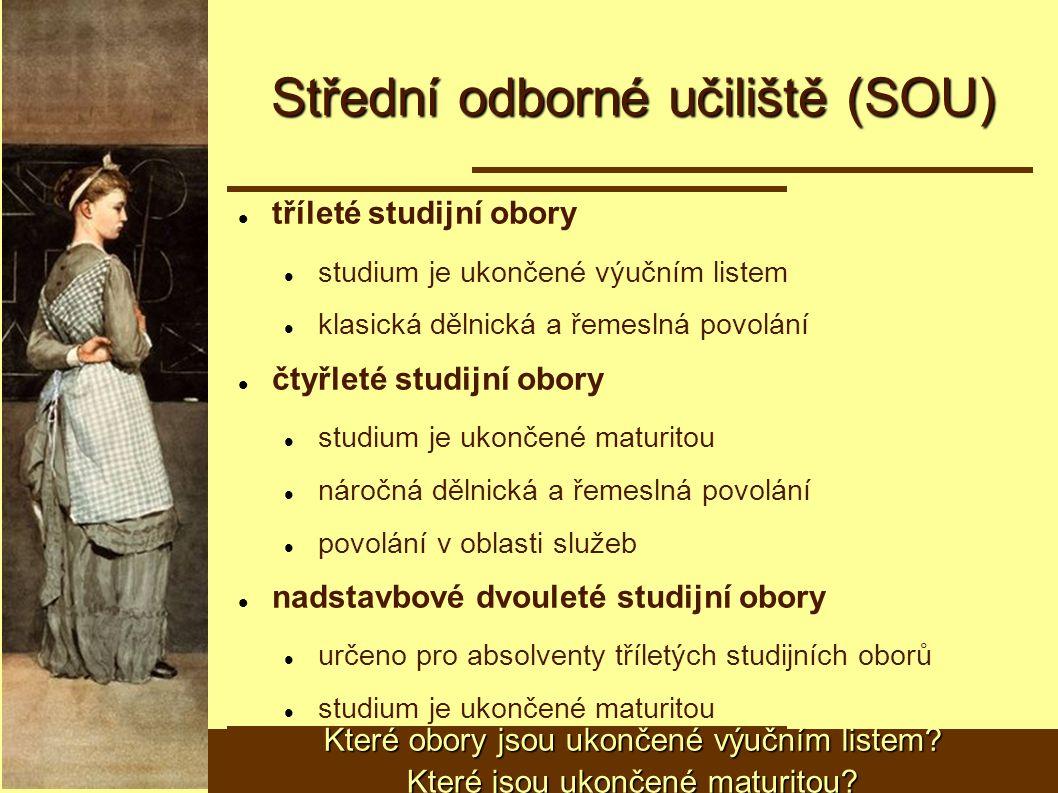 Střední odborné učiliště (SOU) tříleté studijní obory studium je ukončené výučním listem klasická dělnická a řemeslná povolání čtyřleté studijní obory