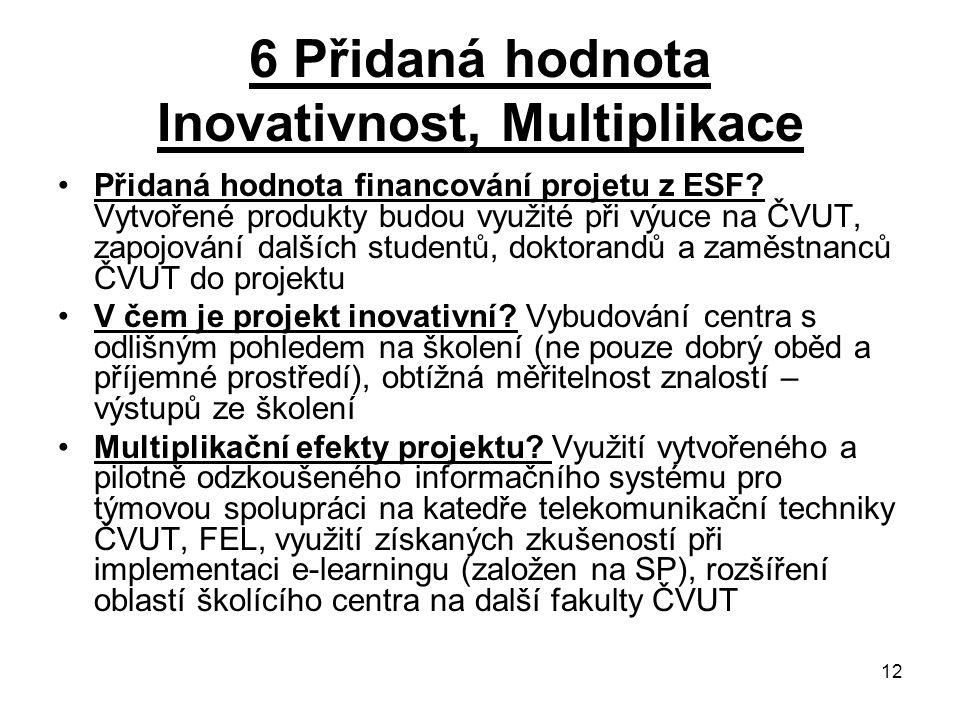 12 6 Přidaná hodnota Inovativnost, Multiplikace Přidaná hodnota financování projetu z ESF.
