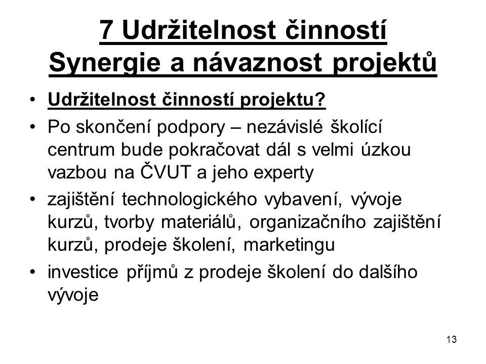 13 7 Udržitelnost činností Synergie a návaznost projektů Udržitelnost činností projektu.