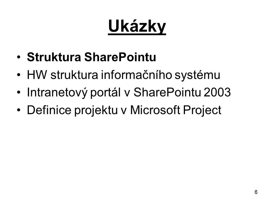 6 Ukázky Struktura SharePointu HW struktura informačního systému Intranetový portál v SharePointu 2003 Definice projektu v Microsoft Project