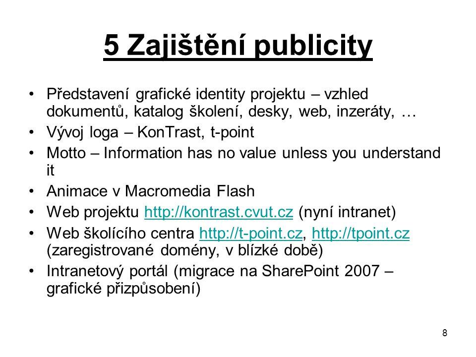 8 5 Zajištění publicity Představení grafické identity projektu – vzhled dokumentů, katalog školení, desky, web, inzeráty, … Vývoj loga – KonTrast, t-point Motto – Information has no value unless you understand it Animace v Macromedia Flash Web projektu http://kontrast.cvut.cz (nyní intranet)http://kontrast.cvut.cz Web školícího centra http://t-point.cz, http://tpoint.cz (zaregistrované domény, v blízké době)http://t-point.czhttp://tpoint.cz Intranetový portál (migrace na SharePoint 2007 – grafické přizpůsobení)