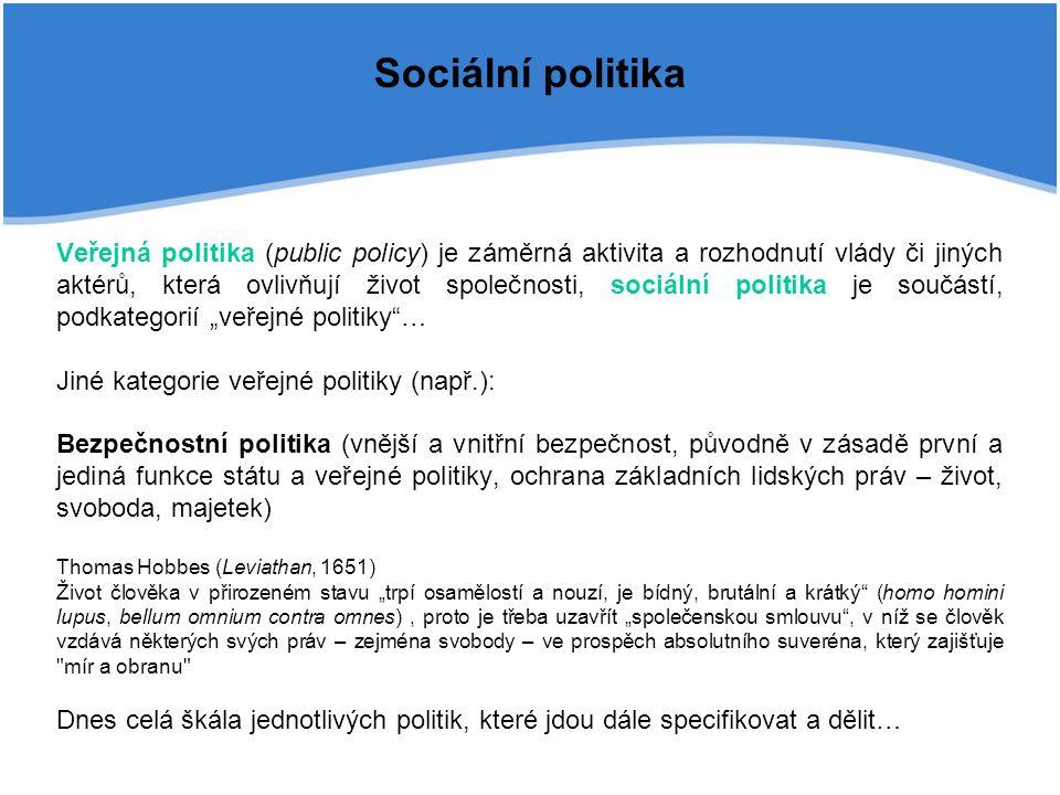 Sociální politika Veřejná politika (public policy) je záměrná aktivita a rozhodnutí vlády či jiných aktérů, která ovlivňují život společnosti, sociáln