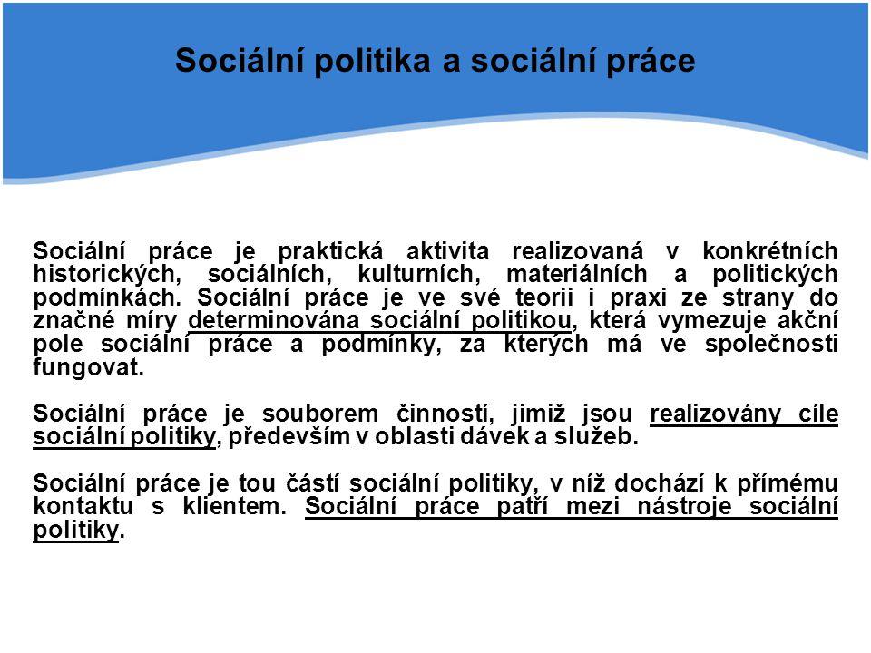 Sociální politika a sociální práce Sociální práce je praktická aktivita realizovaná v konkrétních historických, sociálních, kulturních, materiálních a