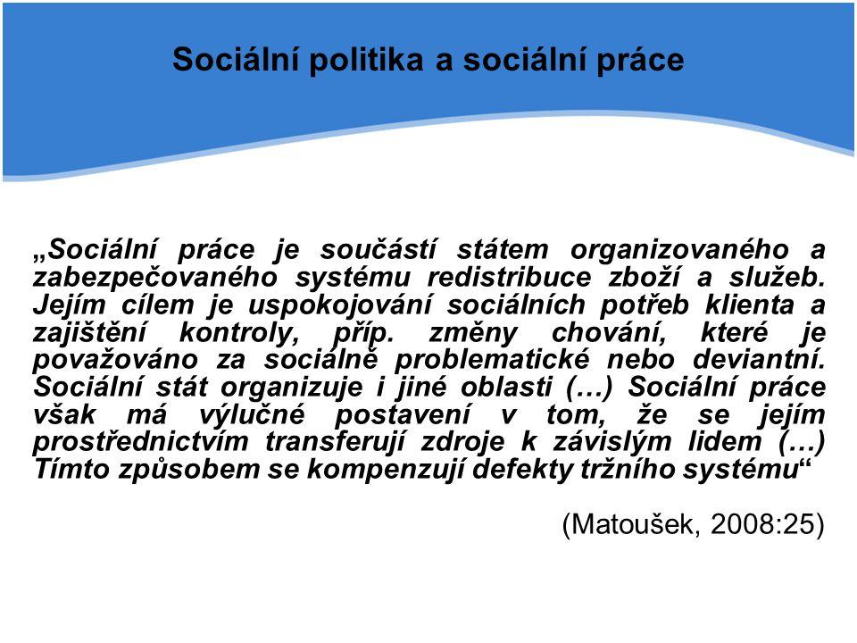 """Sociální politika a sociální práce """"Sociální práce je součástí státem organizovaného a zabezpečovaného systému redistribuce zboží a služeb. Jejím cíle"""