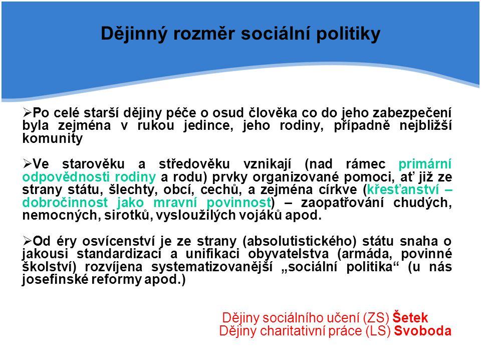 Dějinný rozměr sociální politiky  Po celé starší dějiny péče o osud člověka co do jeho zabezpečení byla zejména v rukou jedince, jeho rodiny, případn