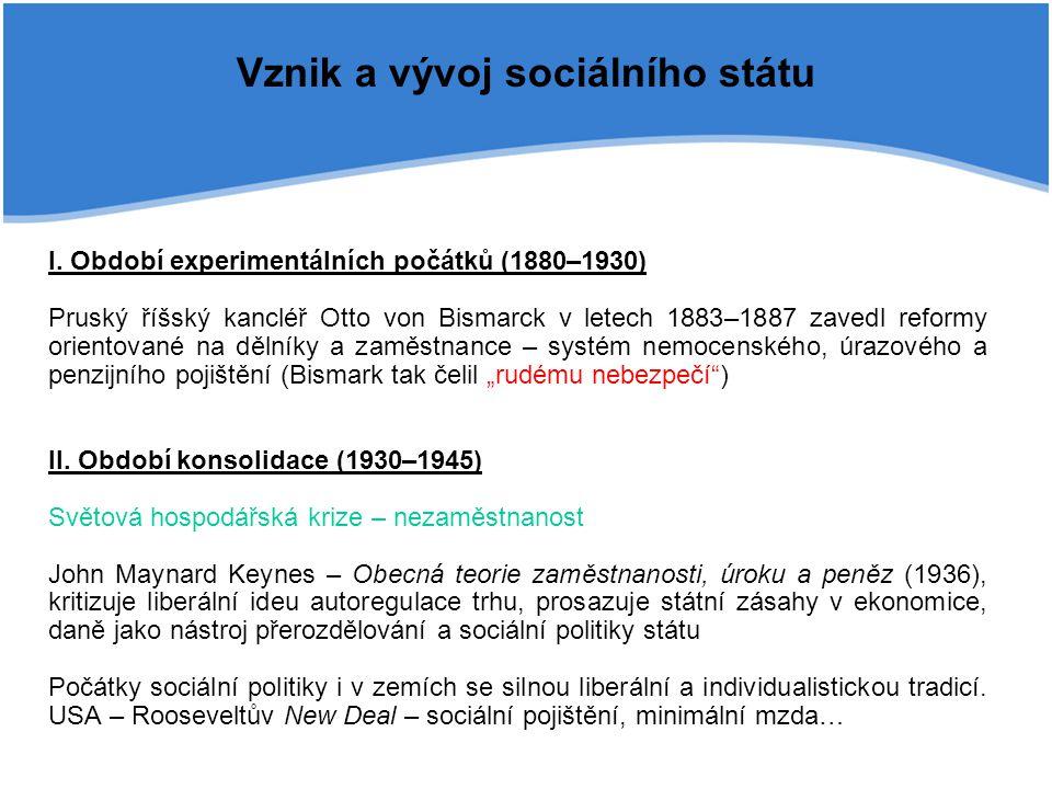 Vznik a vývoj sociálního státu I. Období experimentálních počátků (1880–1930) Pruský říšský kancléř Otto von Bismarck v letech 1883–1887 zavedl reform