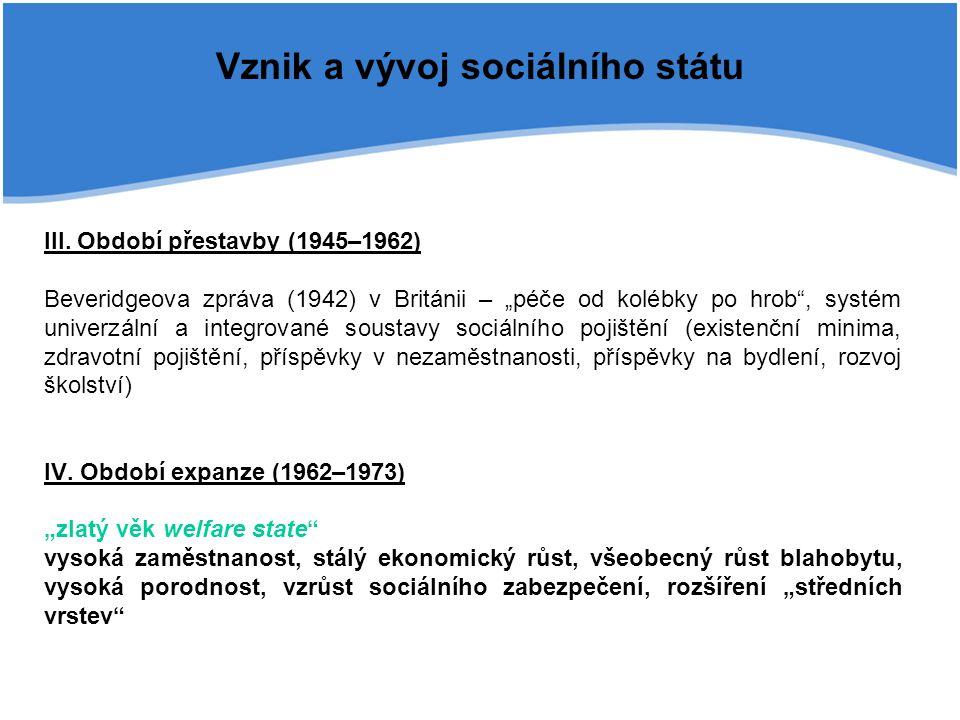 """Vznik a vývoj sociálního státu III. Období přestavby (1945–1962) Beveridgeova zpráva (1942) v Británii – """"péče od kolébky po hrob"""", systém univerzální"""