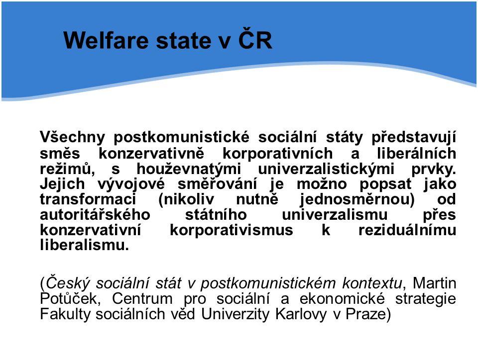 Welfare state v ČR Všechny postkomunistické sociální státy představují směs konzervativně korporativních a liberálních režimů, s houževnatými univerza