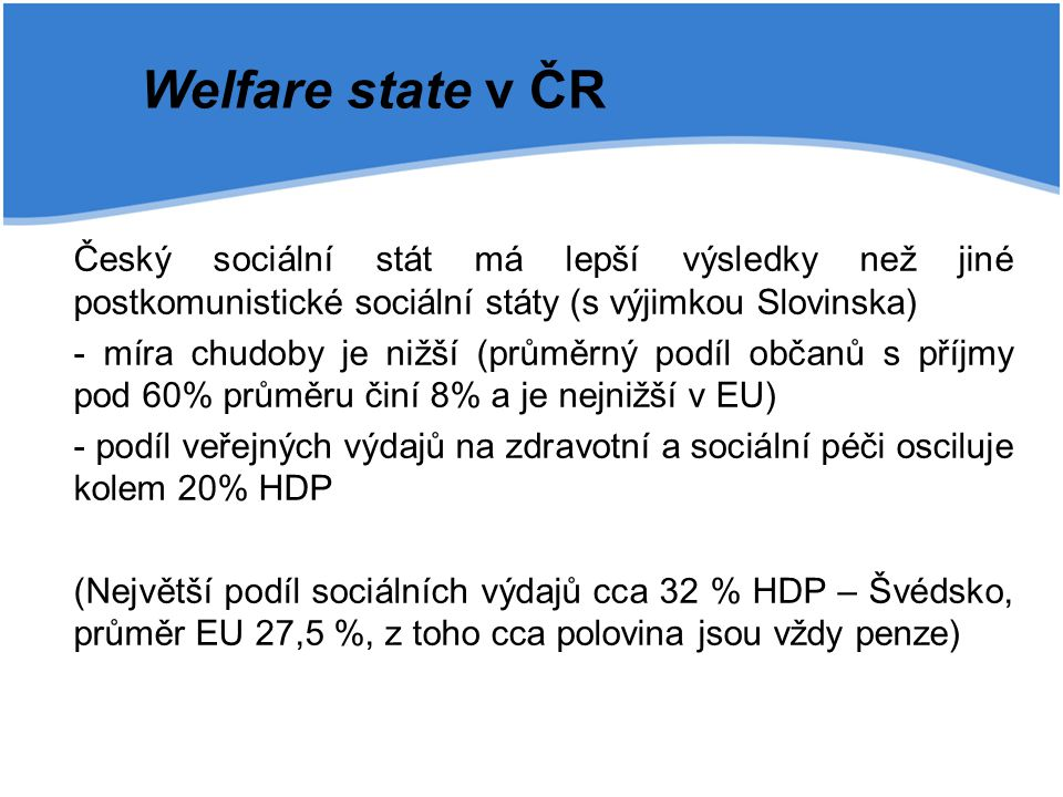 Český sociální stát má lepší výsledky než jiné postkomunistické sociální státy (s výjimkou Slovinska) - míra chudoby je nižší (průměrný podíl občanů s