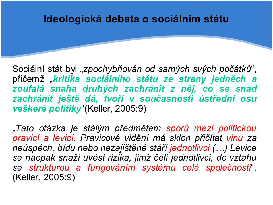 """Ideologická debata o sociálním státu Sociální stát byl """"zpochybňován od samých svých počátků"""", přičemž """"kritika sociálního státu ze strany jedněch a z"""