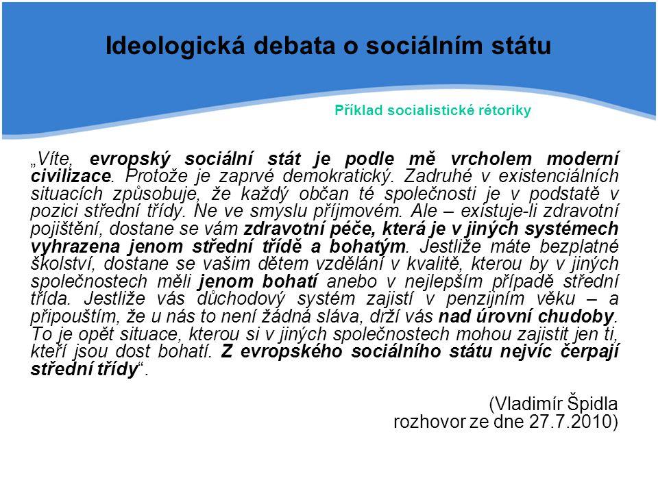 """Ideologická debata o sociálním státu """"Víte, evropský sociální stát je podle mě vrcholem moderní civilizace. Protože je zaprvé demokratický. Zadruhé v"""