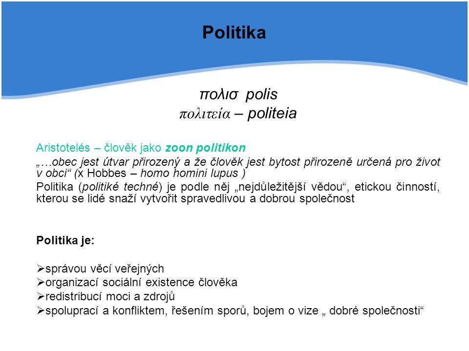 """Politika πολισpolis πολιτεία – politeia Aristotelés – člověk jako zoon politikon """"…obec jest útvar přirozený a že člověk jest bytost přirozeně určená"""