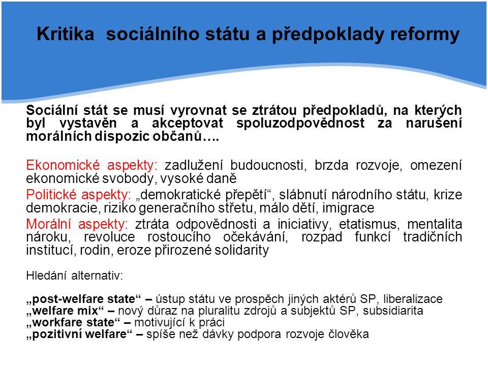 Kritika sociálního státu a předpoklady reformy Sociální stát se musí vyrovnat se ztrátou předpokladů, na kterých byl vystavěn a akceptovat spoluzodpov