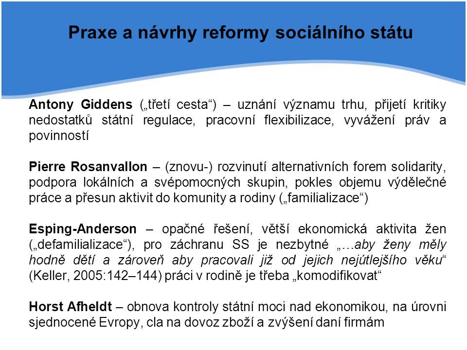 """Praxe a návrhy reformy sociálního státu Antony Giddens (""""třetí cesta"""") – uznání významu trhu, přijetí kritiky nedostatků státní regulace, pracovní fle"""