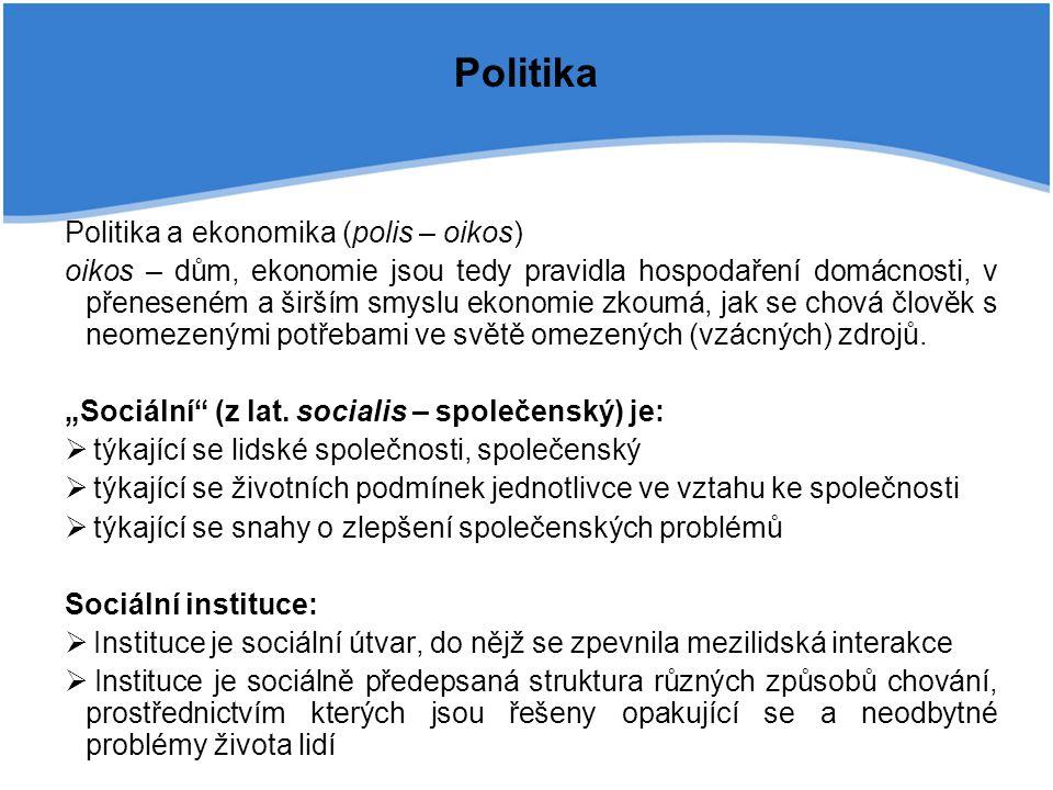 Politika Politika a ekonomika (polis – oikos) oikos – dům, ekonomie jsou tedy pravidla hospodaření domácnosti, v přeneseném a širším smyslu ekonomie z