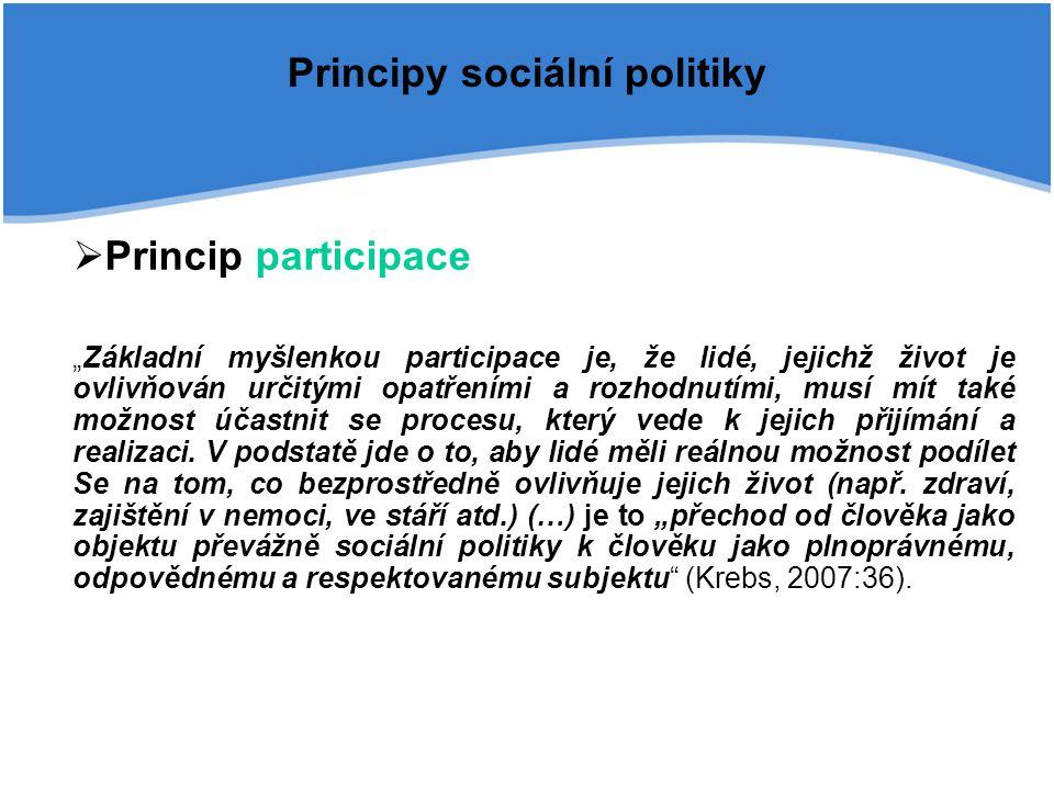 """Principy sociální politiky  Princip participace """"Základní myšlenkou participace je, že lidé, jejichž život je ovlivňován určitými opatřeními a rozhod"""