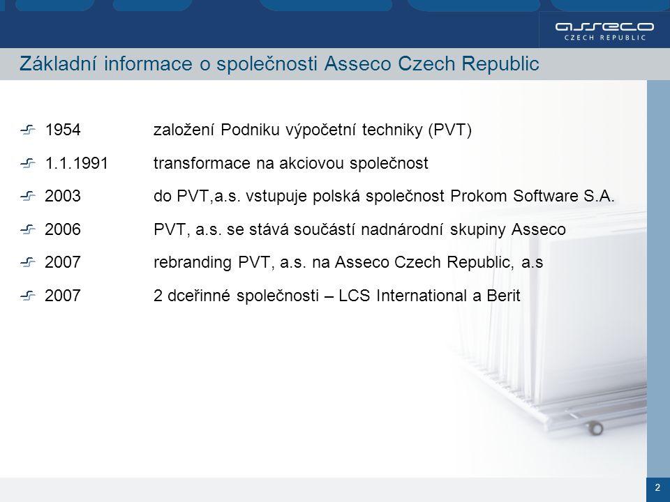 2 Základní informace o společnosti Asseco Czech Republic 1954založení Podniku výpočetní techniky (PVT) 1.1.1991transformace na akciovou společnost 2003do PVT,a.s.