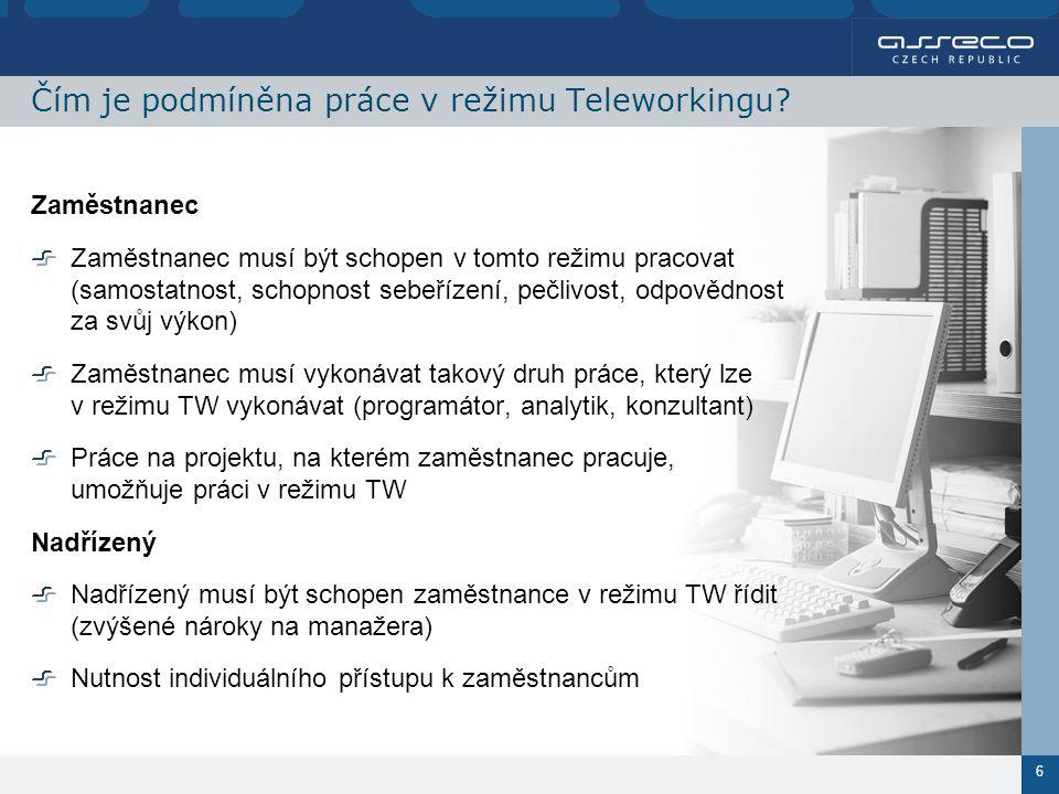 7 Jaké jsou technické předpoklady pro režim Teleworkingu.
