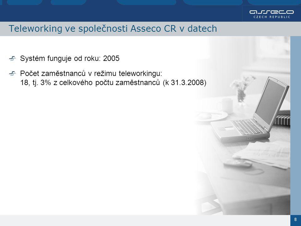 8 Teleworking ve společnosti Asseco CR v datech Systém funguje od roku: 2005 Počet zaměstnanců v režimu teleworkingu: 18, tj.