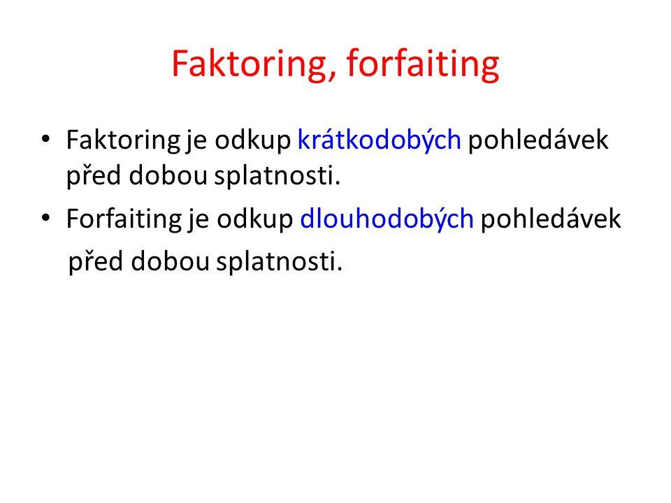 Faktoring, forfaiting Faktoring je odkup krátkodobých pohledávek před dobou splatnosti.