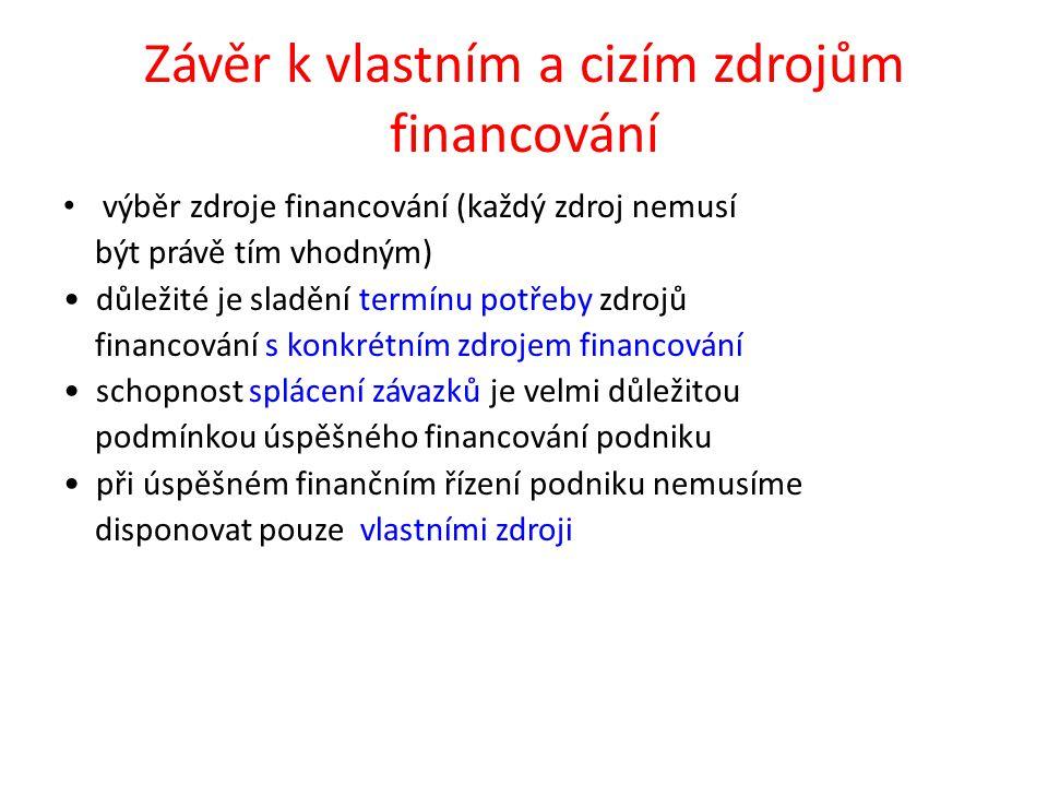Závěr k vlastním a cizím zdrojům financování výběr zdroje financování (každý zdroj nemusí být právě tím vhodným) důležité je sladění termínu potřeby zdrojů financování s konkrétním zdrojem financování schopnost splácení závazků je velmi důležitou podmínkou úspěšného financování podniku při úspěšném finančním řízení podniku nemusíme disponovat pouze vlastními zdroji