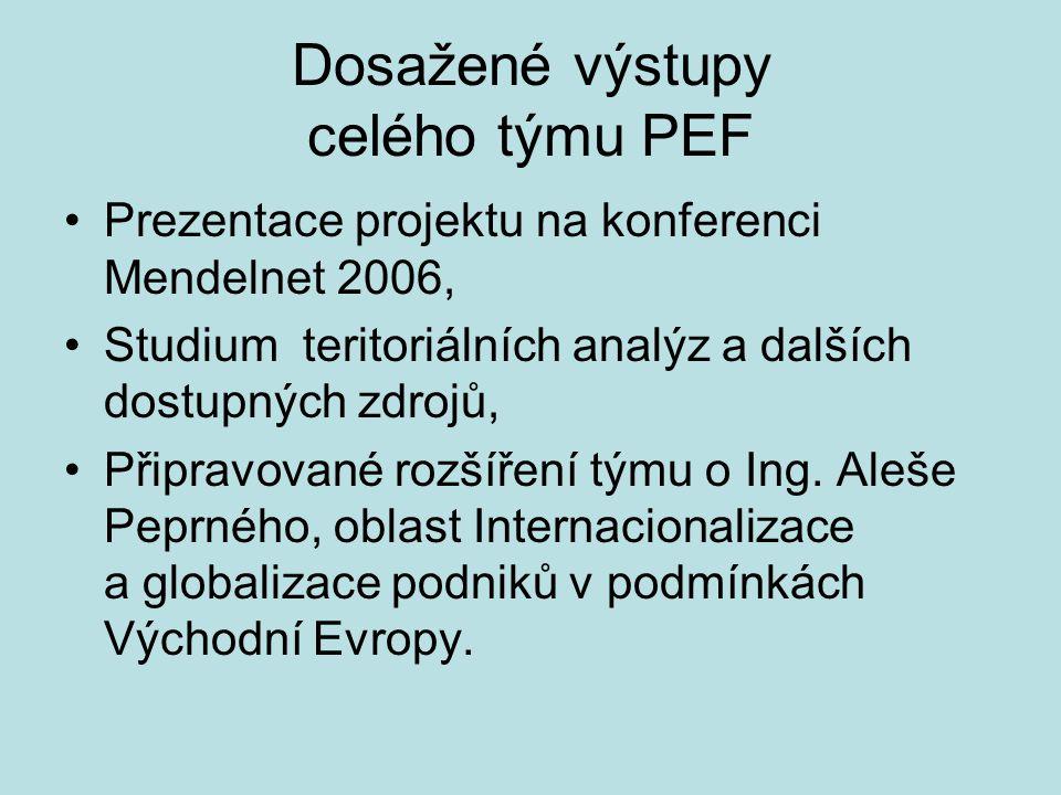 Dosažené výstupy celého týmu PEF Prezentace projektu na konferenci Mendelnet 2006, Studium teritoriálních analýz a dalších dostupných zdrojů, Připravo