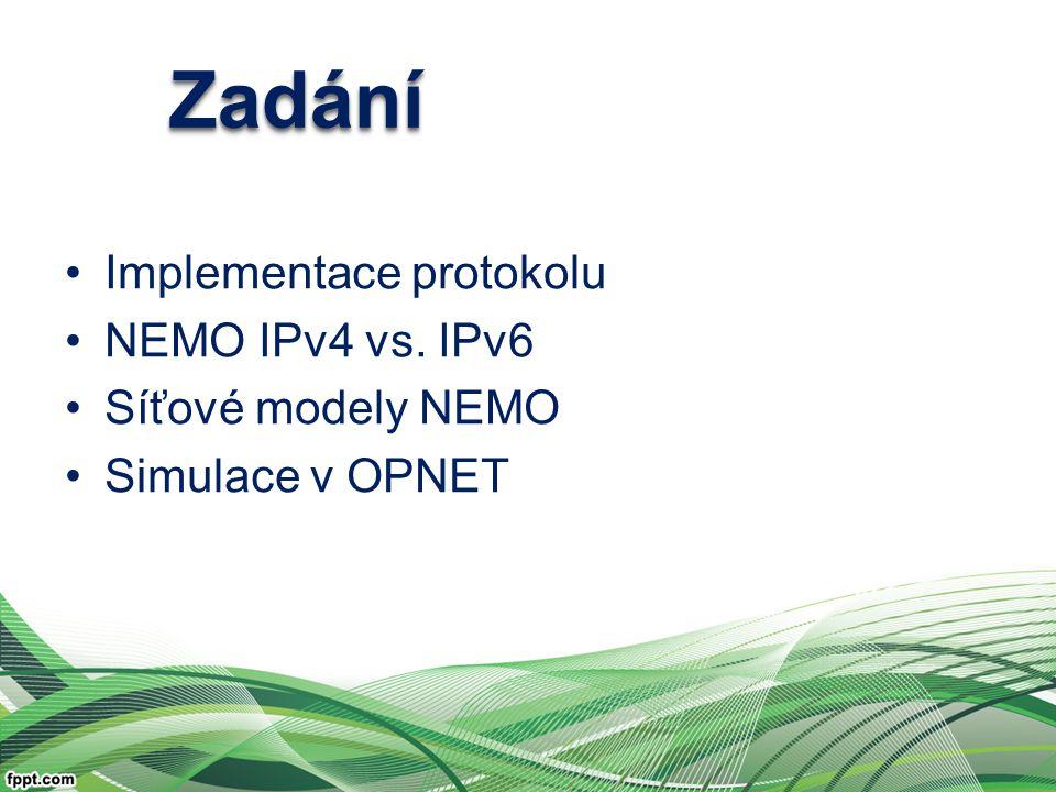 Implementace protokolu NEMO IPv4 vs. IPv6 Síťové modely NEMO Simulace v OPNET ZadáníZadání