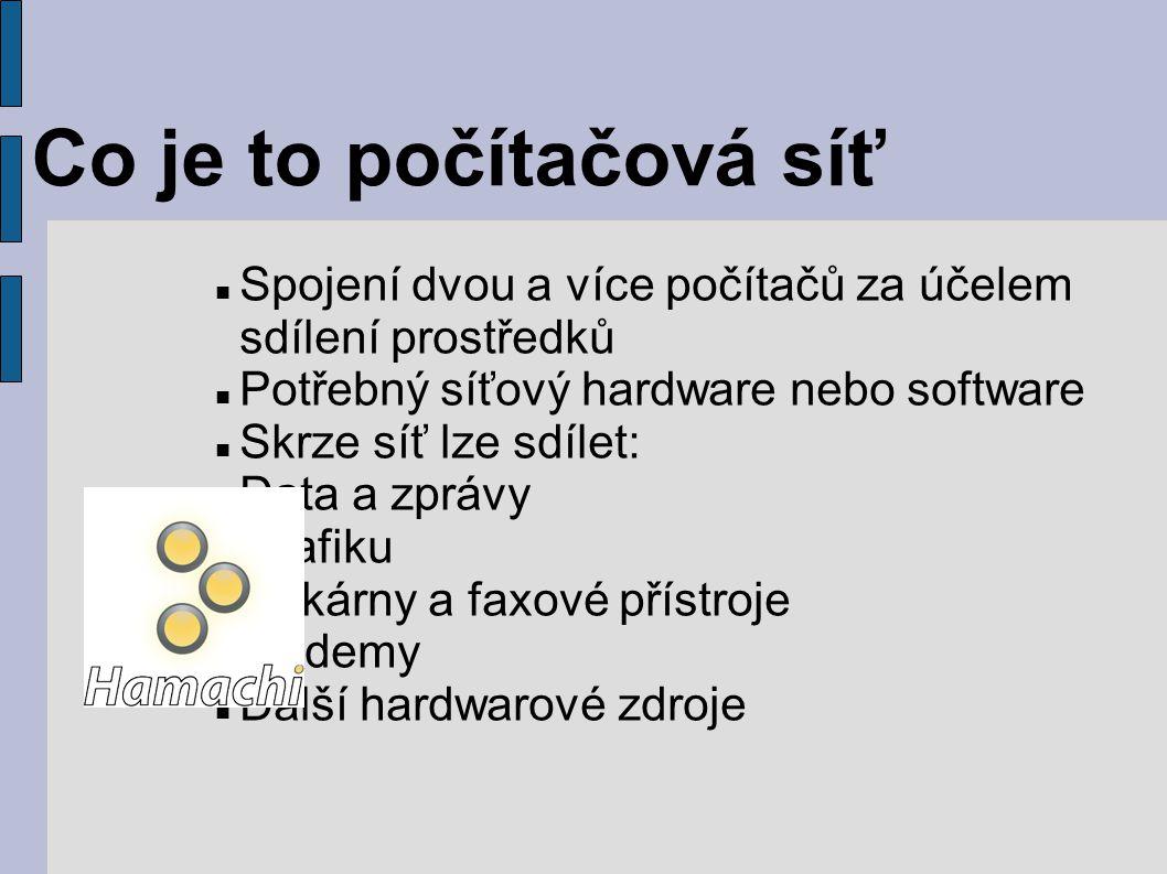 Spojení dvou a více počítačů za účelem sdílení prostředků Potřebný síťový hardware nebo software Skrze síť lze sdílet: Data a zprávy Grafiku Tiskárny