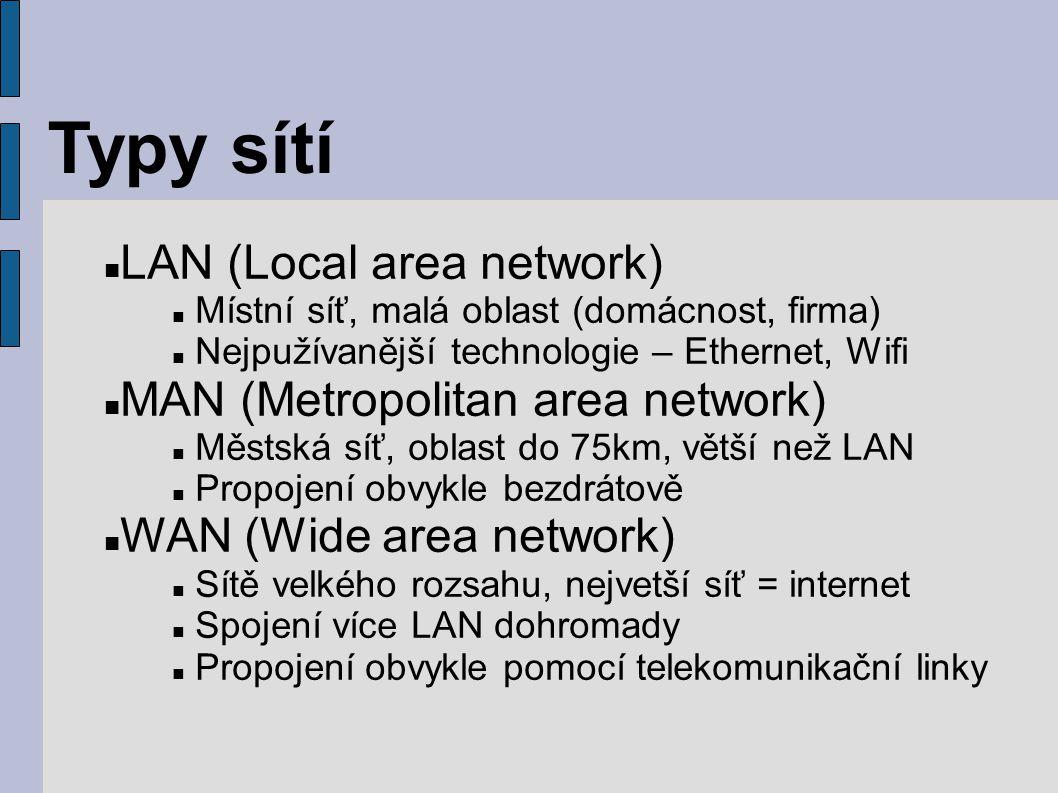 Typy sítí LAN (Local area network) Místní síť, malá oblast (domácnost, firma) Nejpužívanější technologie – Ethernet, Wifi MAN (Metropolitan area netwo