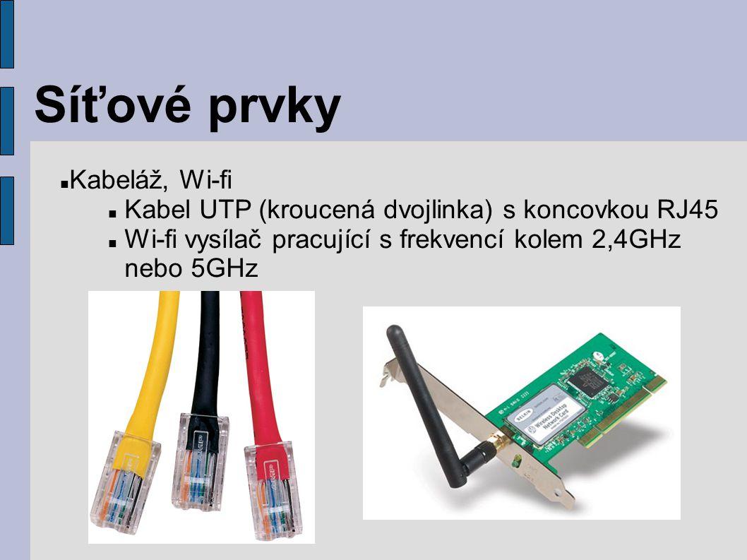 Síťové prvky Kabeláž, Wi-fi Kabel UTP (kroucená dvojlinka) s koncovkou RJ45 Wi-fi vysílač pracující s frekvencí kolem 2,4GHz nebo 5GHz