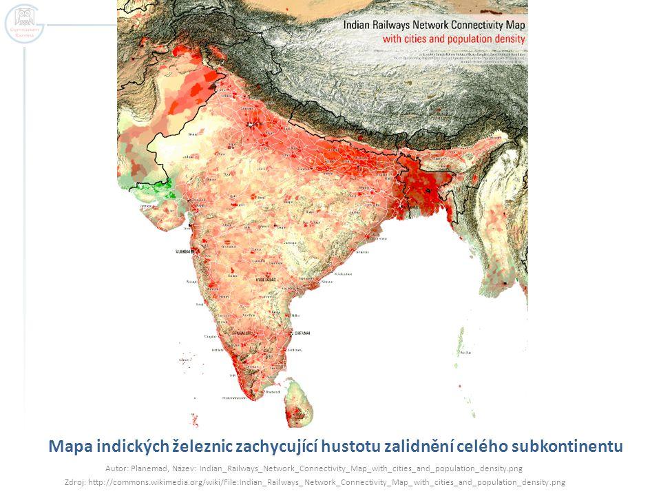Mapa indických železnic zachycující hustotu zalidnění celého subkontinentu Autor: Planemad, Název: Indian_Railways_Network_Connectivity_Map_with_citie