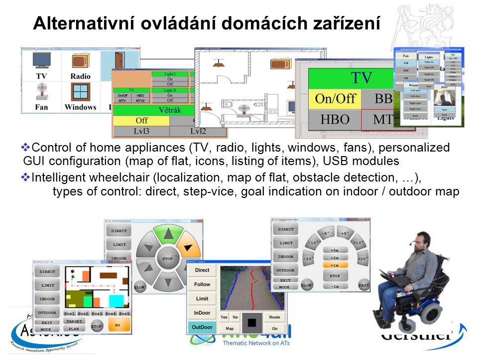 Alternativní ovládání domácích zařízení  Control of home appliances (TV, radio, lights, windows, fans), personalized GUI configuration (map of flat,