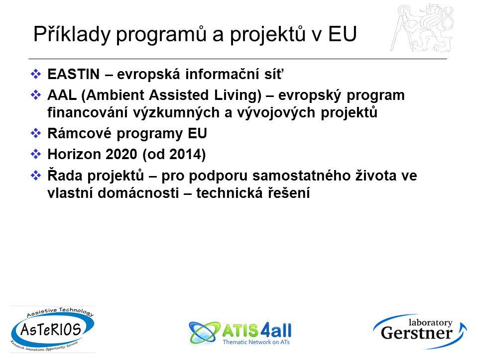 Příklady programů a projektů v EU  EASTIN – evropská informační síť  AAL (Ambient Assisted Living) – evropský program financování výzkumných a vývoj