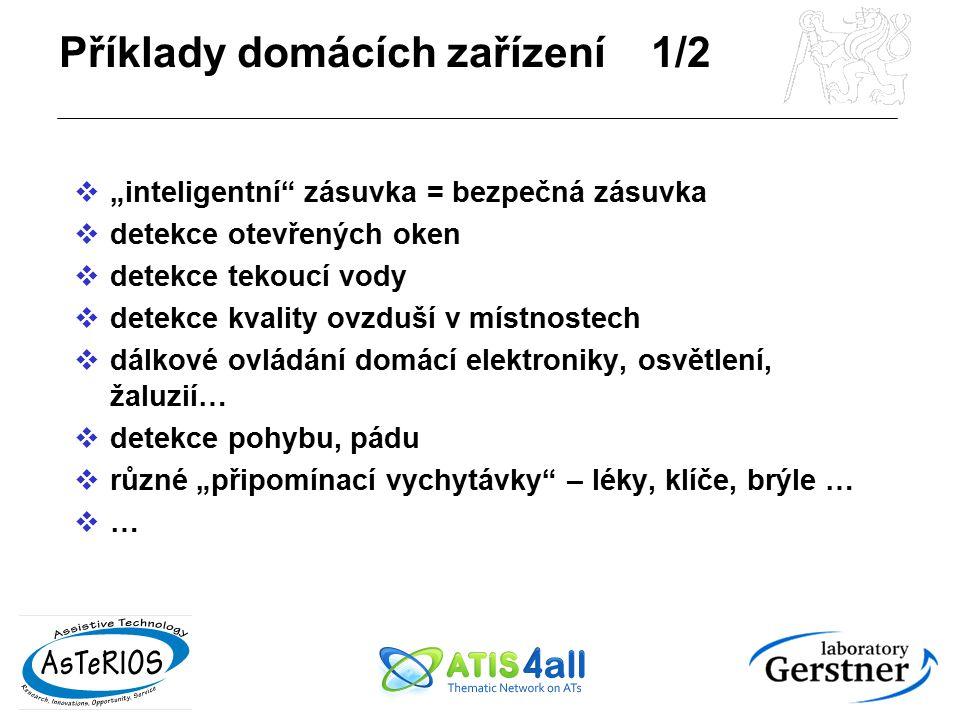 Příklady domácích zařízení 2/2 Uzpůsobená rozhraní podle hendikepu:  mluvicí zařízení pro zrakově postižené (např.