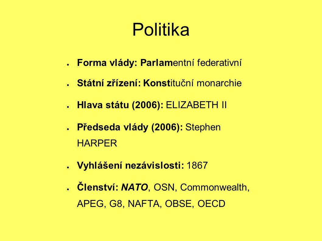 ● Forma vlády: Parlamentní federativní ● Státní zřízení: Konstituční monarchie ● Hlava státu (2006): ELIZABETH II ● Předseda vlády (2006): Stephen HAR