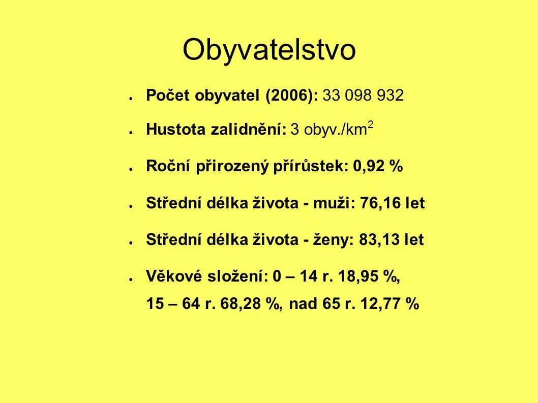 Obyvatelstvo ● Počet obyvatel (2006): 33 098 932 ● Hustota zalidnění: 3 obyv./km 2 ● Roční přirozený přírůstek: 0,92 % ● Střední délka života - muži: