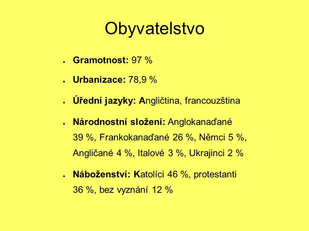 Obyvatelstvo ● Gramotnost: 97 % ● Urbanizace: 78,9 % ● Úřední jazyky: Angličtina, francouzština ● Národnostní složení: Anglokanaďané 39 %, Frankokanaď