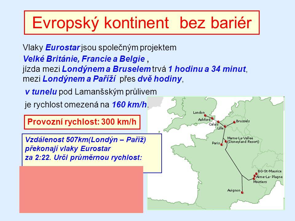 Evropský kontinent bez bariér Vlaky Eurostar jsou společným projektem Velké Británie, Francie a Belgie, jízda mezi Londýnem a Bruselem trvá 1 hodinu a