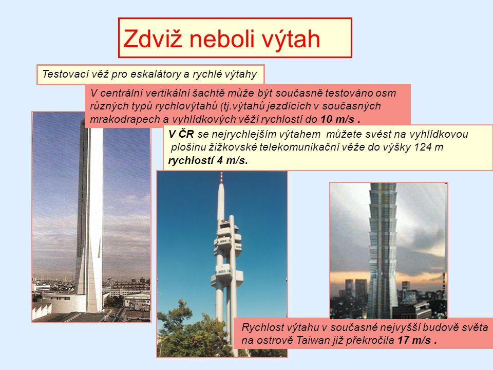 Zdviž neboli výtah Testovací věž pro eskalátory a rychlé výtahy V centrální vertikální šachtě může být současně testováno osm různých typů rychlovýtah