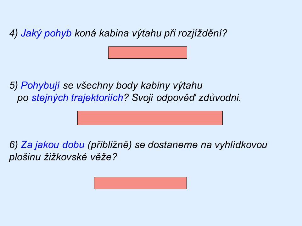 4) Jaký pohyb koná kabina výtahu při rozjíždění? 5) Pohybují se všechny body kabiny výtahu po stejných trajektoriích? Svoji odpověď zdůvodni. nerovnom