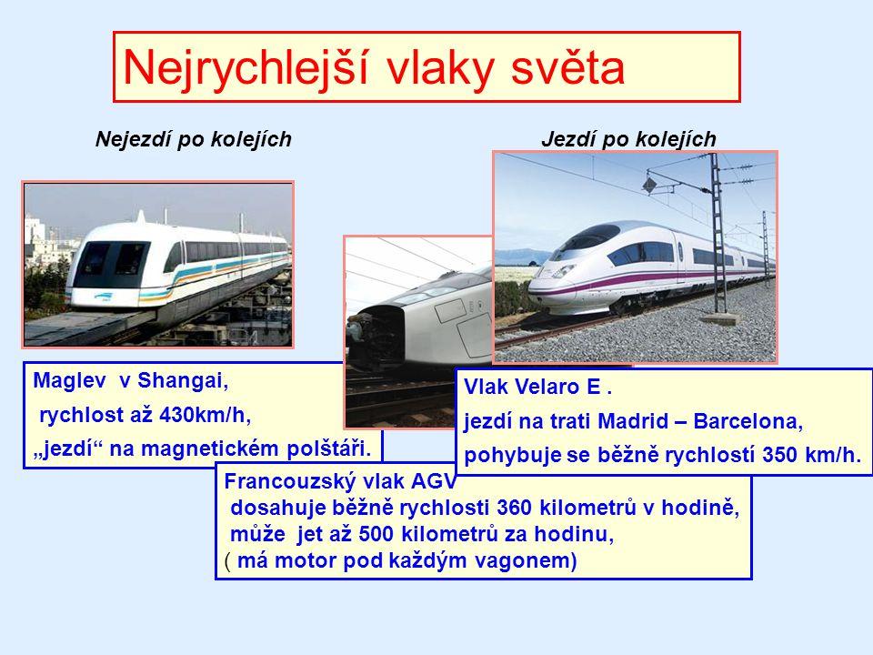 """Nejrychlejší vlaky světa Maglev v Shangai, rychlost až 430km/h, """"jezdí"""" na magnetickém polštáři. Nejezdí po kolejíchJezdí po kolejích Francouzský vlak"""