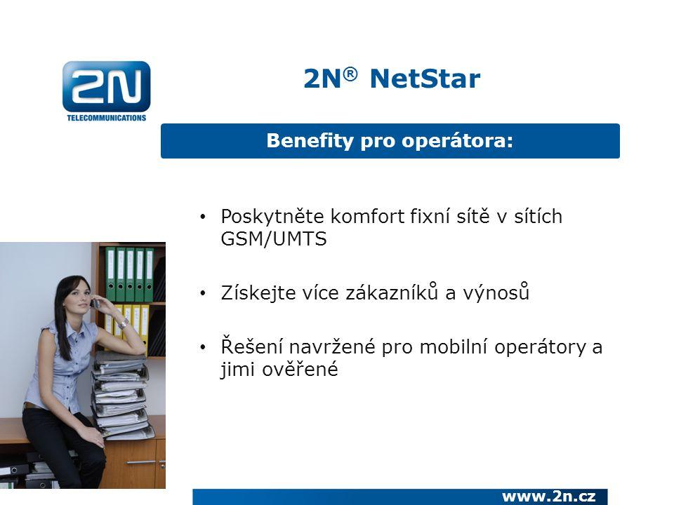 Benefity pro zákazníka www.2n.cz Úspora při volání Profesionální prezentování firmy 2N ® NetStar