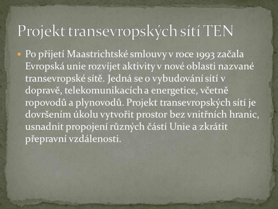 Po přijetí Maastrichtské smlouvy v roce 1993 začala Evropská unie rozvíjet aktivity v nové oblasti nazvané transevropské sítě.