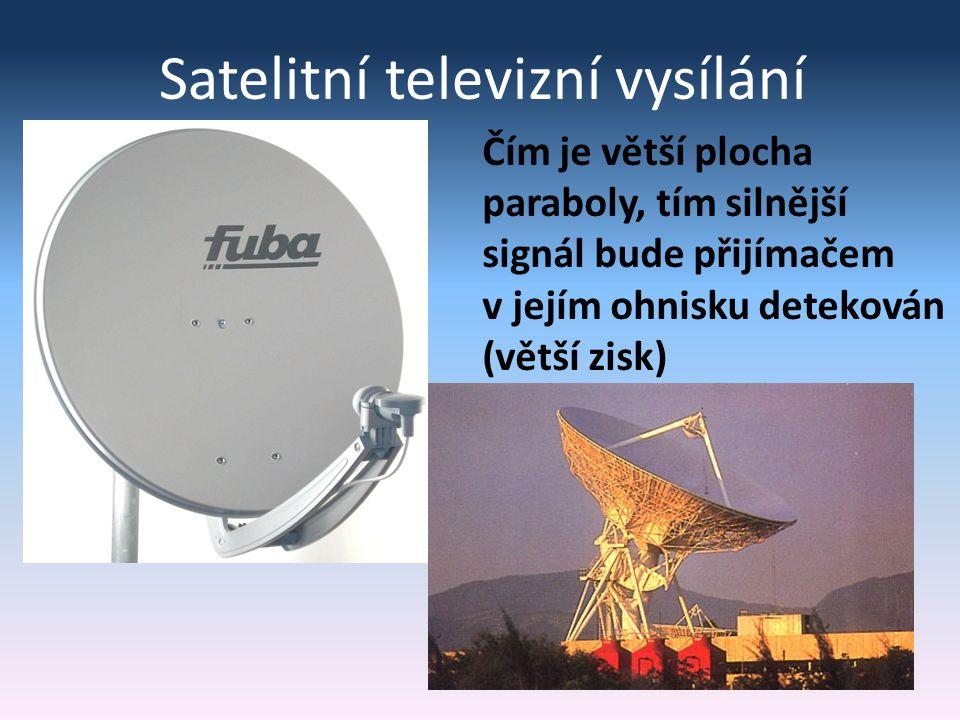 Satelitní televizní vysílání Čím je větší plocha paraboly, tím silnější signál bude přijímačem v jejím ohnisku detekován (větší zisk)